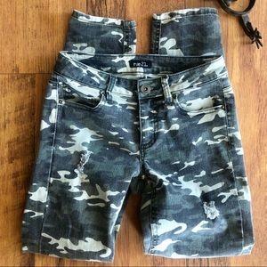 Camo skinny jeans distressed